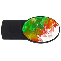 Digitally Painted Messy Paint Background Textur Usb Flash Drive Oval (4 Gb)
