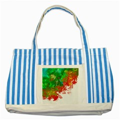 Digitally Painted Messy Paint Background Textur Striped Blue Tote Bag