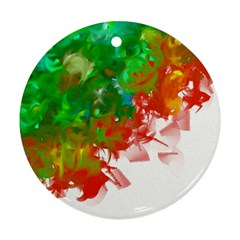 Digitally Painted Messy Paint Background Textur Round Ornament (two Sides)