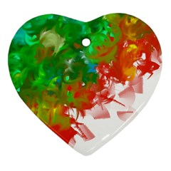 Digitally Painted Messy Paint Background Textur Heart Ornament (two Sides)
