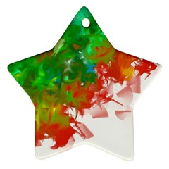 Digitally Painted Messy Paint Background Textur Star Ornament (two Sides)