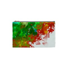 Digitally Painted Messy Paint Background Textur Cosmetic Bag (Small)