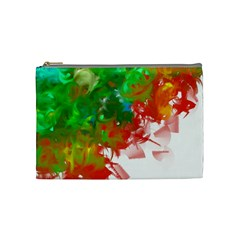 Digitally Painted Messy Paint Background Textur Cosmetic Bag (Medium)
