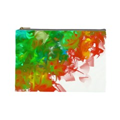 Digitally Painted Messy Paint Background Textur Cosmetic Bag (large)