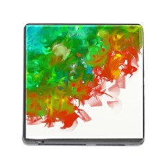 Digitally Painted Messy Paint Background Textur Memory Card Reader (Square)