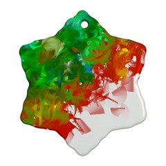 Digitally Painted Messy Paint Background Textur Snowflake Ornament (Two Sides)