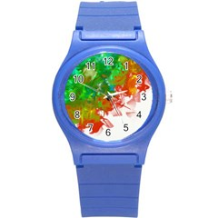 Digitally Painted Messy Paint Background Textur Round Plastic Sport Watch (s)