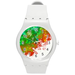 Digitally Painted Messy Paint Background Textur Round Plastic Sport Watch (M)