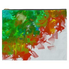 Digitally Painted Messy Paint Background Textur Cosmetic Bag (XXXL)