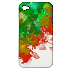 Digitally Painted Messy Paint Background Textur Apple Iphone 4/4s Hardshell Case (pc+silicone)