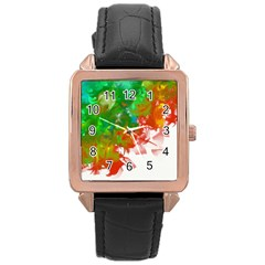 Digitally Painted Messy Paint Background Textur Rose Gold Leather Watch