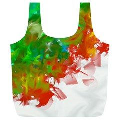 Digitally Painted Messy Paint Background Textur Full Print Recycle Bags (L)