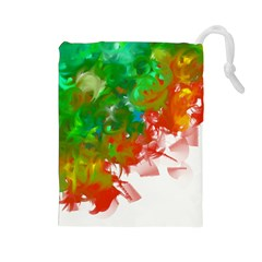Digitally Painted Messy Paint Background Textur Drawstring Pouches (Large)