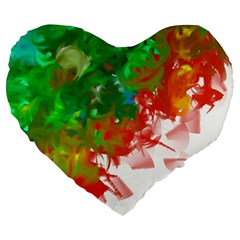 Digitally Painted Messy Paint Background Textur Large 19  Premium Flano Heart Shape Cushions