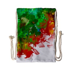 Digitally Painted Messy Paint Background Textur Drawstring Bag (Small)