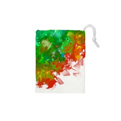 Digitally Painted Messy Paint Background Textur Drawstring Pouches (XS)