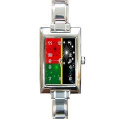 Snowflake Background Digitally Created Pattern Rectangle Italian Charm Watch