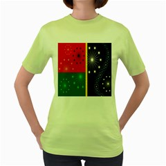 Snowflake Background Digitally Created Pattern Women s Green T-Shirt