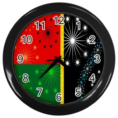 Snowflake Background Digitally Created Pattern Wall Clocks (black)