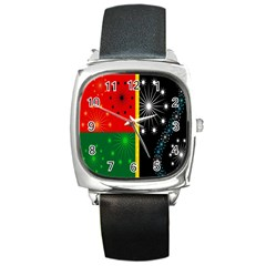 Snowflake Background Digitally Created Pattern Square Metal Watch