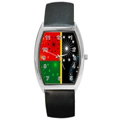 Snowflake Background Digitally Created Pattern Barrel Style Metal Watch