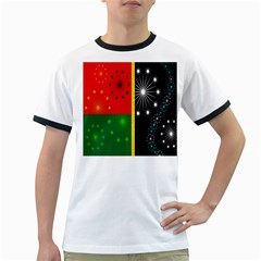 Snowflake Background Digitally Created Pattern Ringer T-Shirts