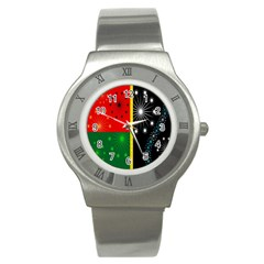 Snowflake Background Digitally Created Pattern Stainless Steel Watch