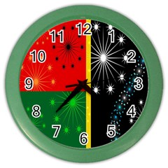 Snowflake Background Digitally Created Pattern Color Wall Clocks