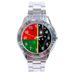 Snowflake Background Digitally Created Pattern Stainless Steel Analogue Watch