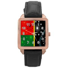 Snowflake Background Digitally Created Pattern Rose Gold Leather Watch