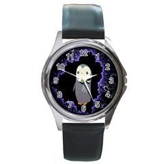 Fractal Image With Penguin Drawing Round Metal Watch