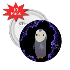 Fractal Image With Penguin Drawing 2.25  Buttons (10 pack)