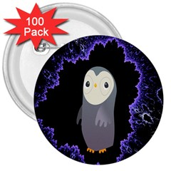 Fractal Image With Penguin Drawing 3  Buttons (100 pack)