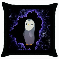 Fractal Image With Penguin Drawing Throw Pillow Case (Black)