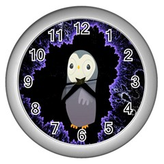 Fractal Image With Penguin Drawing Wall Clocks (Silver)