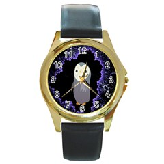 Fractal Image With Penguin Drawing Round Gold Metal Watch