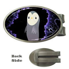 Fractal Image With Penguin Drawing Money Clips (Oval)