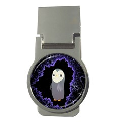 Fractal Image With Penguin Drawing Money Clips (Round)