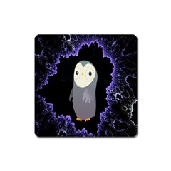 Fractal Image With Penguin Drawing Square Magnet