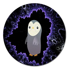 Fractal Image With Penguin Drawing Magnet 5  (Round)
