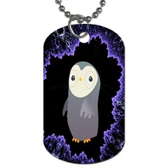 Fractal Image With Penguin Drawing Dog Tag (two Sides)