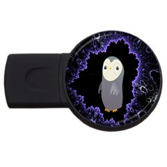 Fractal Image With Penguin Drawing Usb Flash Drive Round (2 Gb)