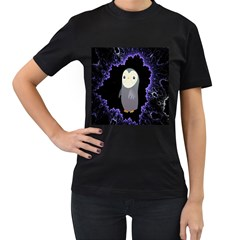 Fractal Image With Penguin Drawing Women s T-Shirt (Black) (Two Sided)