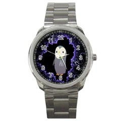Fractal Image With Penguin Drawing Sport Metal Watch