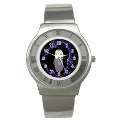 Fractal Image With Penguin Drawing Stainless Steel Watch