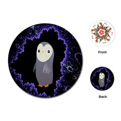 Fractal Image With Penguin Drawing Playing Cards (round)