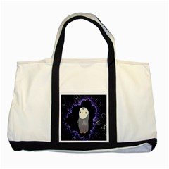 Fractal Image With Penguin Drawing Two Tone Tote Bag