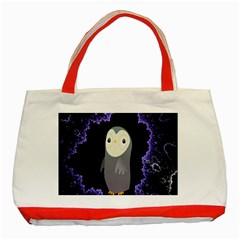 Fractal Image With Penguin Drawing Classic Tote Bag (red)