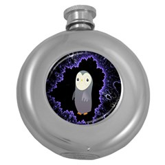 Fractal Image With Penguin Drawing Round Hip Flask (5 oz)