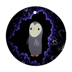 Fractal Image With Penguin Drawing Round Ornament (Two Sides)